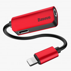Baseus L32 IP Male to 3.5mm+IP Female Adapter Red