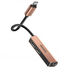 Baseus 3-in-1 iP Male to Dual iP & 3.5mm Female Adapter L52 Blush-gold