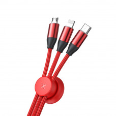 Кабель Baseus Car Co-sharing Cable USB For M+L+T 3.5A 1m Red