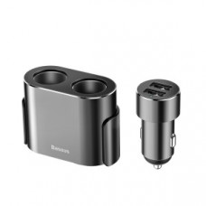 Автомобильное зарядное устройство Baseus High Efficiency One to Two Cigarette Lighter(dual-cigarette lighter 80W +dual USB 3.1A)Silver