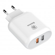 Сетевая зарядка Baseus Bojure Series Dual-USB quick charge charger for  23W (EU)White
