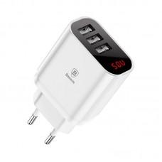Сетевая зарядка Baseus Mirror Lake Intelligent Digital Display 3USB Travel Charger 3.4A White (CN)