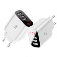 Сетевая зарядка Baseus Mirror Lake Intelligent Digital Display 3USB Travel Charger 3.4A (EU) White