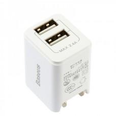 Сетевая зарядка Baseus Traveler series Dual USB charger 2.4A (CN) White