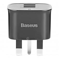 Сетевая зарядка Baseus Funzi Dual USB Charger 2.4A (UK)  Black