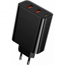 Сетевая зарядка Baseus PPS three output quick charger(C+U+U)60W EU Black