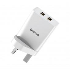 Сетевая зарядка Baseus Speed Mini Dual U Charger 10.5W(UK) White