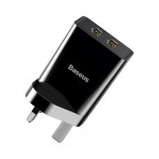 Сетевая зарядка Baseus Speed Mini Dual U Charger 10.5W(UK) Black