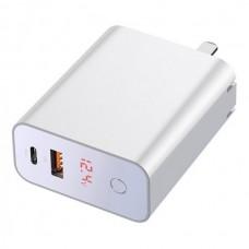 Сетевая зарядка Baseus Speed PPS smart shutdown&Digital Display touch charger C+U 45W CN White