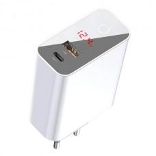 Сетевая зарядка Baseus SpeedPPSIntelligentPower-off&DigitalDisplayQuickChargerPD3.0+QC3.045W(Type-C+USB) EU White