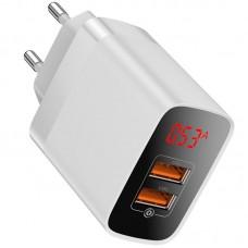 Сетевая зарядка Baseus Mirror Lake Dual QC Digital Display quick Charger A+A EU White