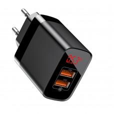 Сетевая зарядка Baseus Mirror Lake Dual QC Digital Display quick Charger A+A US Black