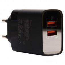 Сетевая зарядка Baseus Mirror Lake Dual QC Digital Display quick Charger A+A CN Black