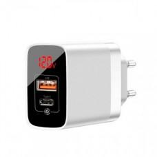 Сетевая зарядка Baseus Mirror Lake Dual QC Digital Display quick Charger A+A UK White