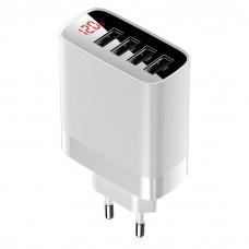 Сетевая зарядка Baseus Mirror Lake Digital Display 4USB Travel Charger 30W (CN) White