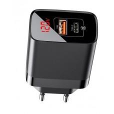 Сетевая зарядка Baseus Mirror Lake PPS Digital Display quick Charger A+C EU Black