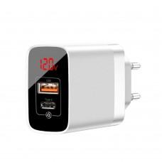 Сетевая зарядка Baseus Mirror Lake PPS Digital Display quick Charger A+C EU White