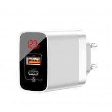 Сетевая зарядка Baseus Mirror Lake PPS Digital Display quick Charger A+C US White