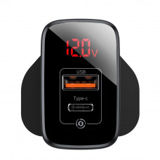 Сетевая зарядка Baseus Mirror Lake PPS Digital Display quick Charger A+C UK Black