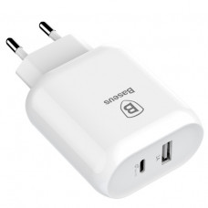Сетевая зарядка Baseus Bojure SeriesType-C PD+U quick charge charger  32W with Type-C to Lightning PD cable set (EU)White