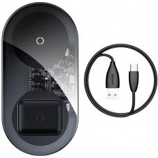 Беспроводное зарядное устройство Baseus Simple 2in1 Wireless Charger 18W Max For Phones+Pods Transparent
