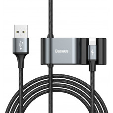 Кабель с USB-мультиплексором Baseus Special Data Cable для Backseat (USB to iP+Dual USB), Black