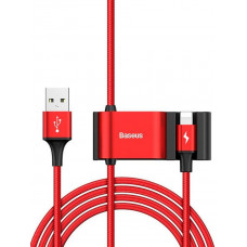 Кабель с USB-мультиплексором Baseus Special Data Cable для Backseat (USB to iP+Dual USB) Red