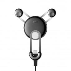 Автомобильный держатель Baseus YY vehicle-mounted phone charging holder with USB cable (Type-C Version) Silver