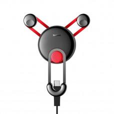 Автомобильный держатель Baseus YY vehicle-mounted phone charging holder with USB cable (Type-C Version) Red