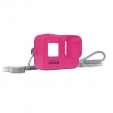 Силиконовый чехол с ремешком для камеры розовый GoPro HERO8 (Sleeve + Lanyard) AJSST-007